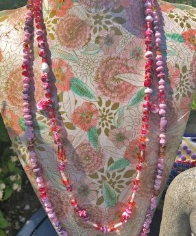 Cherry Gold Jasmine Lampwork Necklace