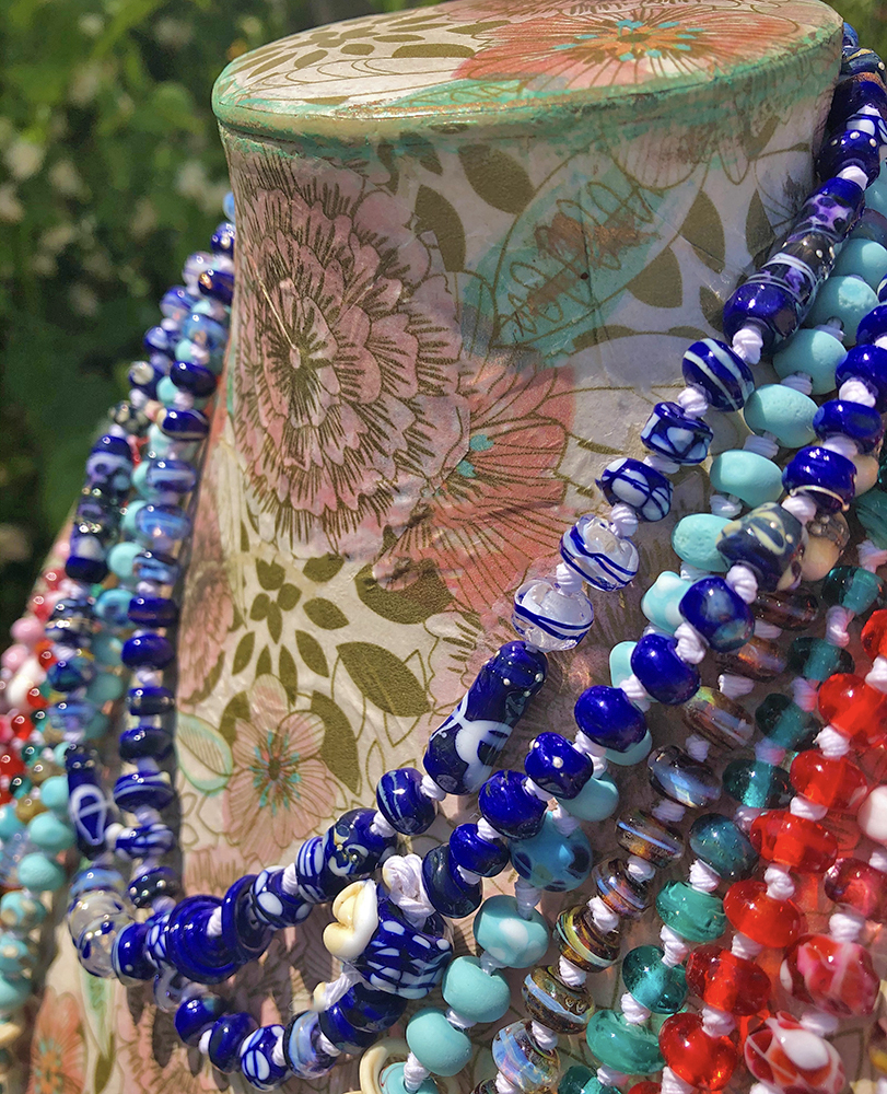 Jasmine Lazuli Necklace by Glass Artist Jenelle Aubade